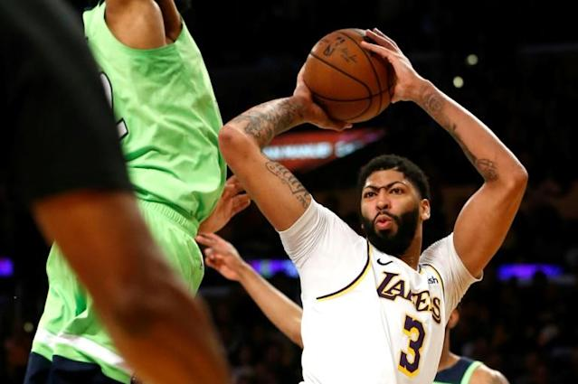Anthony Davis on the way to scoring 50 points for the Los Angeles Lakers in a 142-125 NBA victory over the Minnesota Timberwolves (AFP Photo/Katharine Lotze)