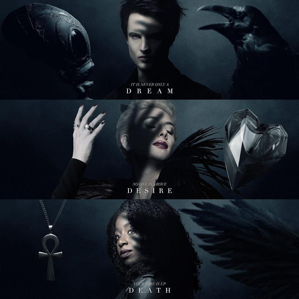 Three triptych posters for Dream, Desire, and Death next to symbols of their power from Netflix's The Sandman