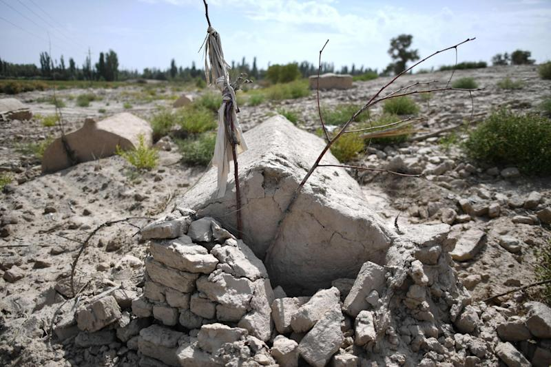 Photo taken in September shows what used to be a traditional Uighur cemetery before it was destroyed in Shayar in the region of Xinjiang: AFP via Getty Images