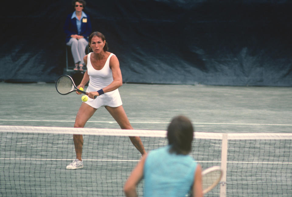 NEW YORK - CIRCA 1977: Renee Richards hits a return during the Women's 1977 US Open Tennis Championships circa 1977 at Forest Hills in the Queens borough of New York City. (Photo by Focus on Sport/Getty Images)