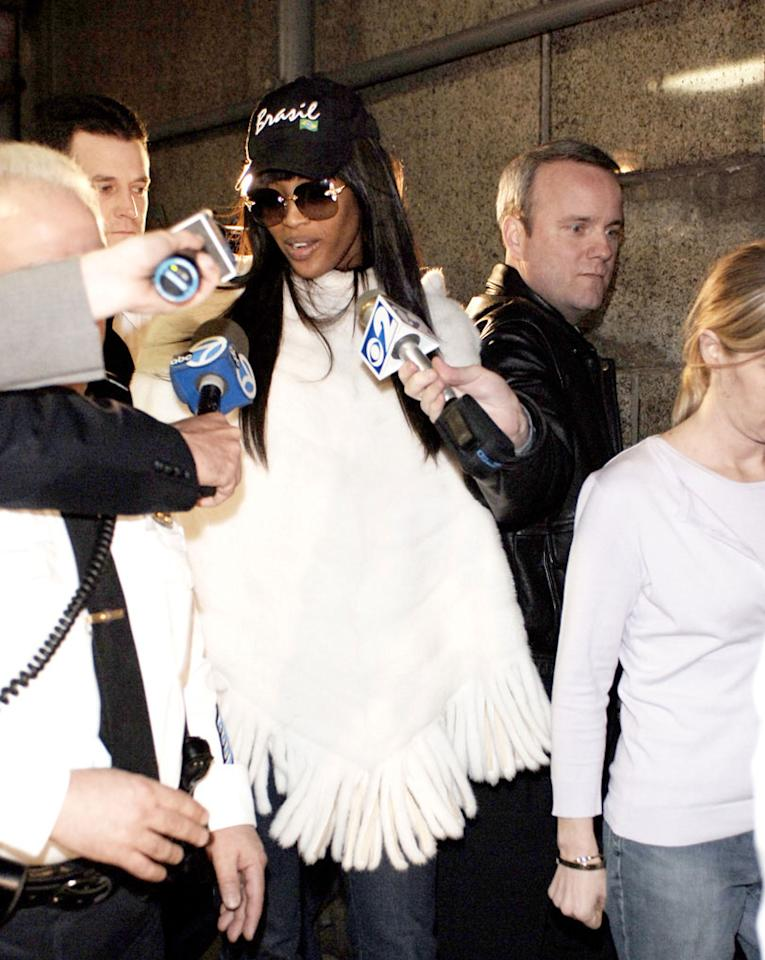 "Naomi Campbell leaves the New York Criminal Courts building. Jemal Countess/<a href=""http://www.wireimage.com"" target=""new"">WireImage.com</a> - January 29, 2007"
