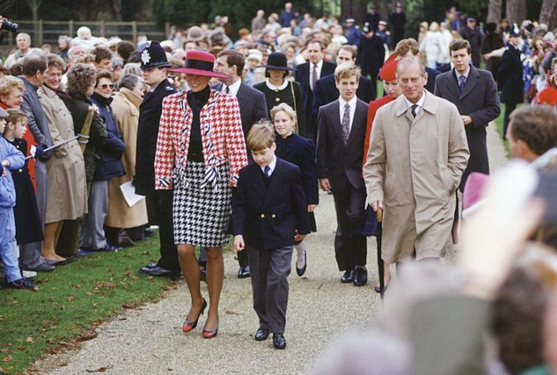 Diana wore a similar pattern in 1990 at Princess Eugenie's christening. Photo: Getty