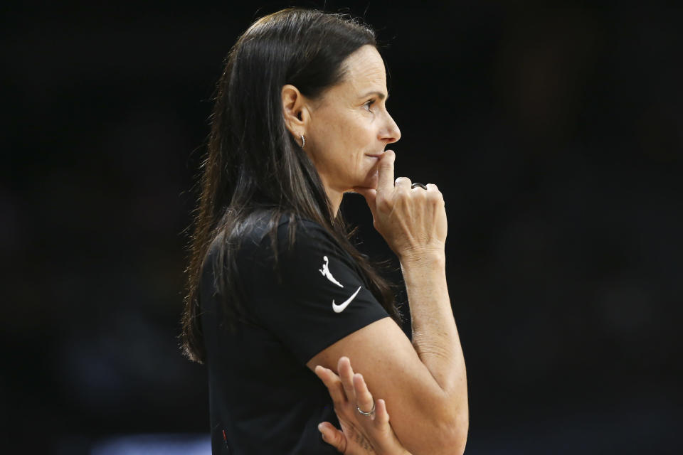Phoenix Mercury coach Sandy Brondello watches during the second half of Game 5 of the team's WNBA basketball playoff series against the Las Vegas Aces on Friday, Oct. 8, 2021, in Las Vegas. The Mercury won 87-84. (AP Photo/Chase Stevens)