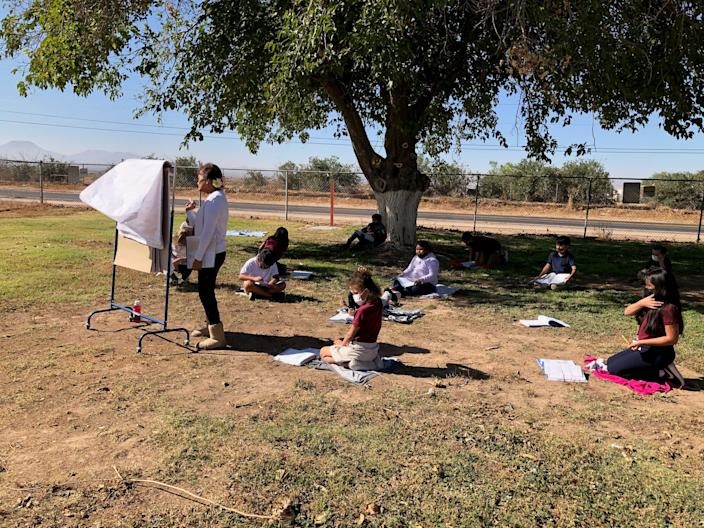 Stanfield staff and students have made use of outside spaces during the pandemic. In November, a third grade class had a snack and learning time outside.