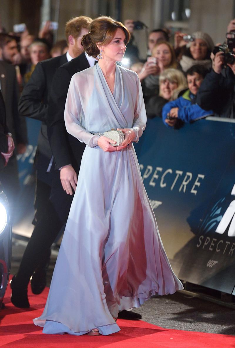 The Duchess of Cambridge looked a vision in an ice-blue Jenny Packham gown at the London premiere of 'Spectre' on October 26, 2015.