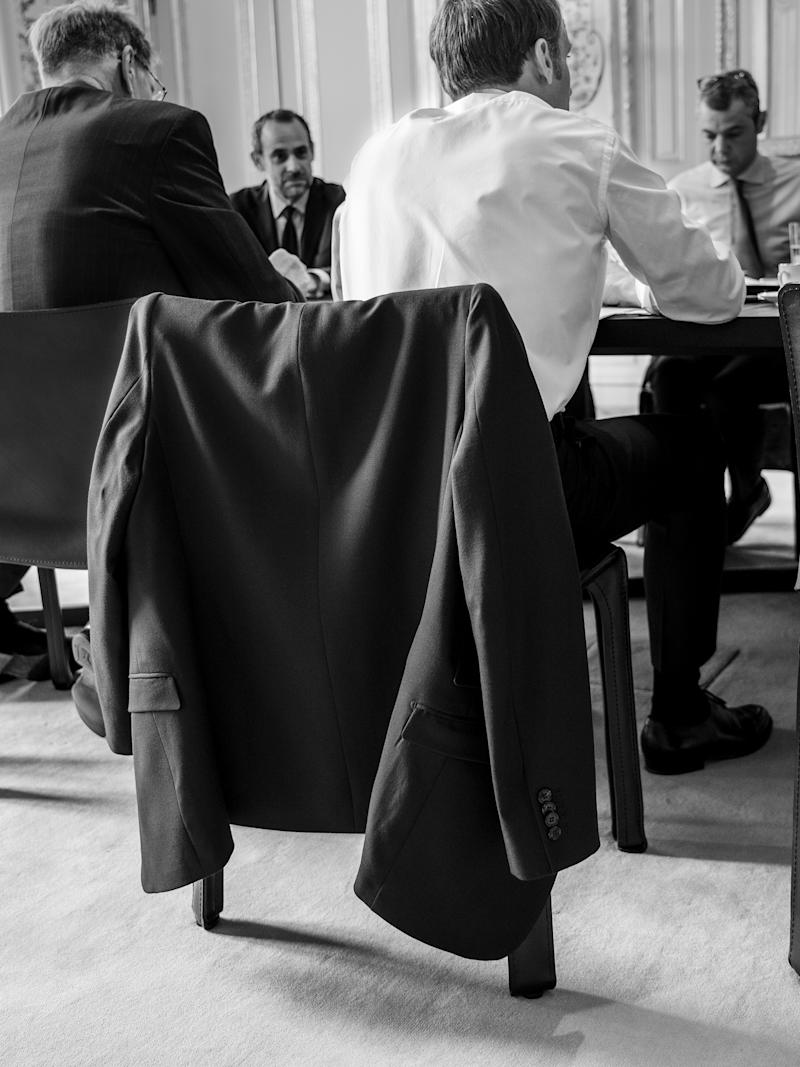 Macron during a meeting with senior advisers | Christopher Anderson—Magnum Photos for TIME