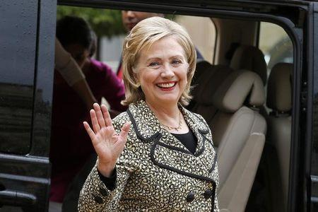 Former U.S. Secretary of State Hillary Clinton leaves after a meeting at the Elysee Palace in Paris