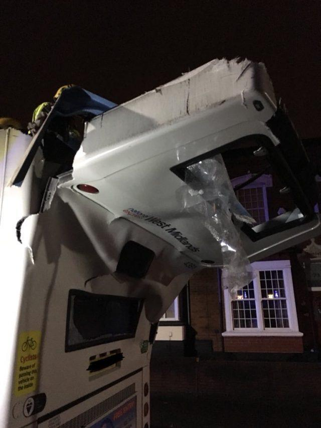 The rear of the bus on Bournville Lane (Twitter/GMorrisWMP/PA)