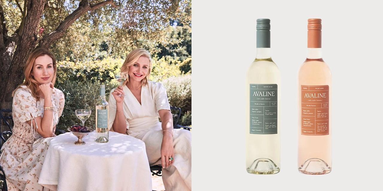 """<p>The beloved actress Cameron Diaz and entrepreneur Katherine Power launched a clean wine brand with a white wine and a rosé that are both vegan-friendly, made with organic grapes, and free of unnecessary additives. Oh, and though the pair planned to release a red wine later in the year, overwhelming consumer demand (and the 120,000 bottles sold of its first two varietals) led them to bump the release up by months. Avaline Red will be in select retails in early October and will be distributed more widely over the next few months.</p><p><a class=""""body-btn-link"""" href=""""https://go.redirectingat.com?id=74968X1596630&url=https%3A%2F%2Fwww.wine.com%2Flist%2Fwine%2Favaline%2F7155-124231&sref=https%3A%2F%2Fwww.redbookmag.com%2Ffood-recipes%2Fg34171716%2Fcelebrity-alcohol-brands%2F"""" target=""""_blank"""">BUY NOW</a> <strong><em>$19.99, wine.com</em></strong></p>"""