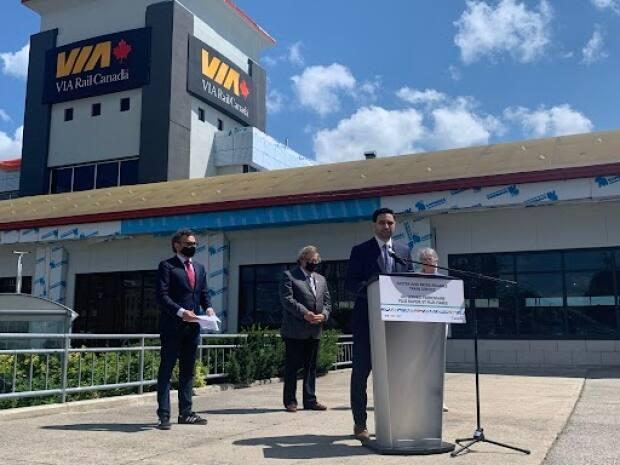 Peter Fragiskatos, Liberal MP for the riding of London North Centre, speaks at the city's VIA Rail station on Wednesday, July 21, 2021.  (Kate Dubinski/ CBC News - image credit)