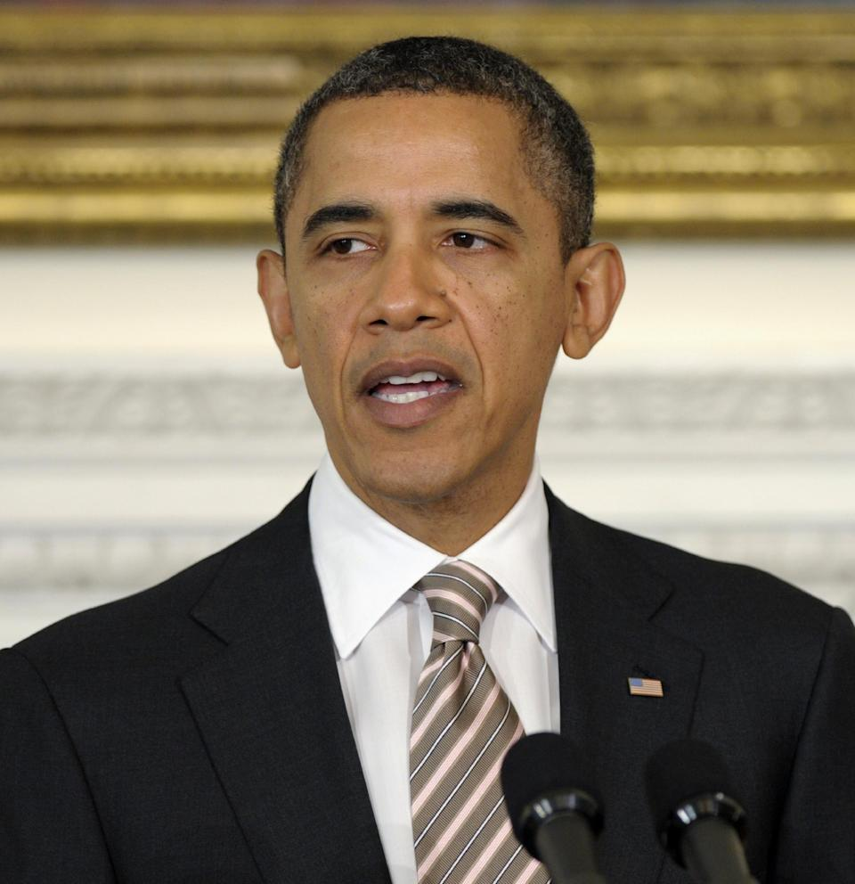 In this photo taken, Monday, Feb. 27, 2012, President Barack Obama speaks in the State Dining Room of the White House in Washington. It's looking like President Barack Obama may be back in the good graces of women after a drop in approval from this critical constituency late last year. His standing with female voters has been strengthening, polls show, as the economy improves, the nation's mood brightens and social issues become part of the nation's political discourse. (AP Photo/Susan Walsh)