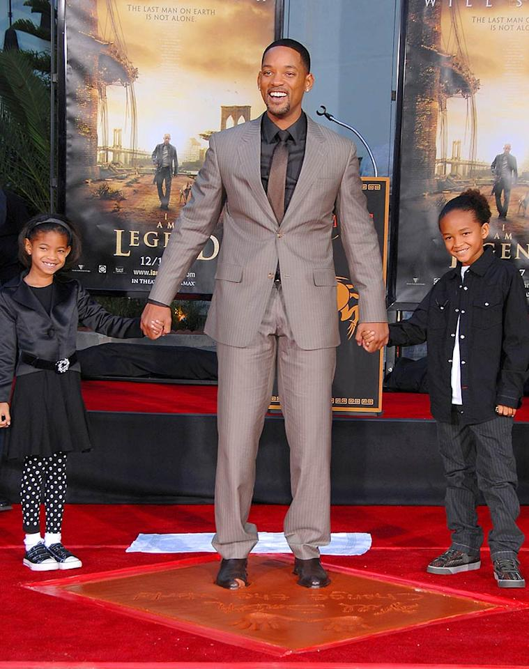 """Willow and Jayden Smith proudly joined their father Will during his footprint and handprint ceremony at Grauman's Chinese Theater in Hollywood. Steve Granitz/<a href=""""http://www.wireimage.com"""" target=""""new"""">WireImage.com</a> - December 10, 2007"""