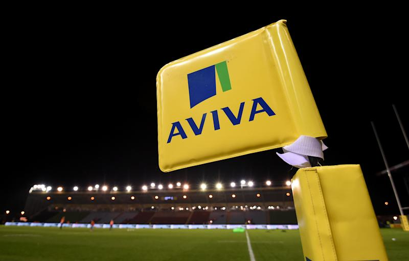 General view of an Aviva branded flag pitch side at the Twickenham Stoop