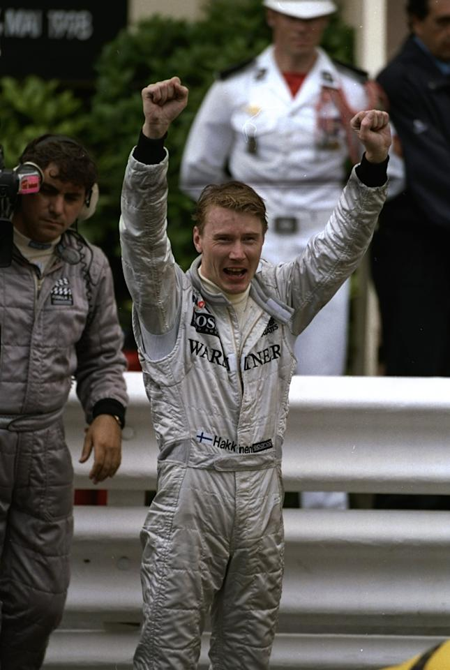 21-24 May 1998:  McLaren Mercedes driver Mika Hakkinen of Finland celebrates after the Monaco Grand Prix at the Monte Carlo circuit in Monaco. Hakkinen finished in first place. \ Mandatory Credit: Mark  Thompson/Allsport