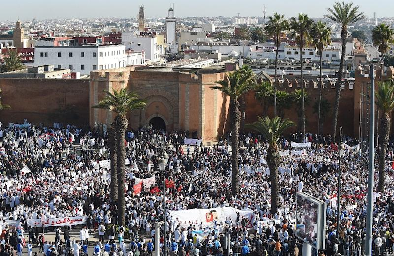 Moroccan trainee teachers take part in a rally in Rabat on January 24, 2016, to protest against government-proposed budget cuts on education jobs (AFP Photo/Fadel Senna)