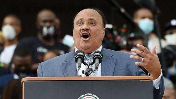 PHOTO: Human Rights Advocate Martin Luther King III speaks at the Lincoln Memorial during the'Commitment March: Get Your Knee Off Our Necks,' Aug. 28, 2020, in Washington D.C. (Olivier Douliery/POOL/AFP via Getty Images)
