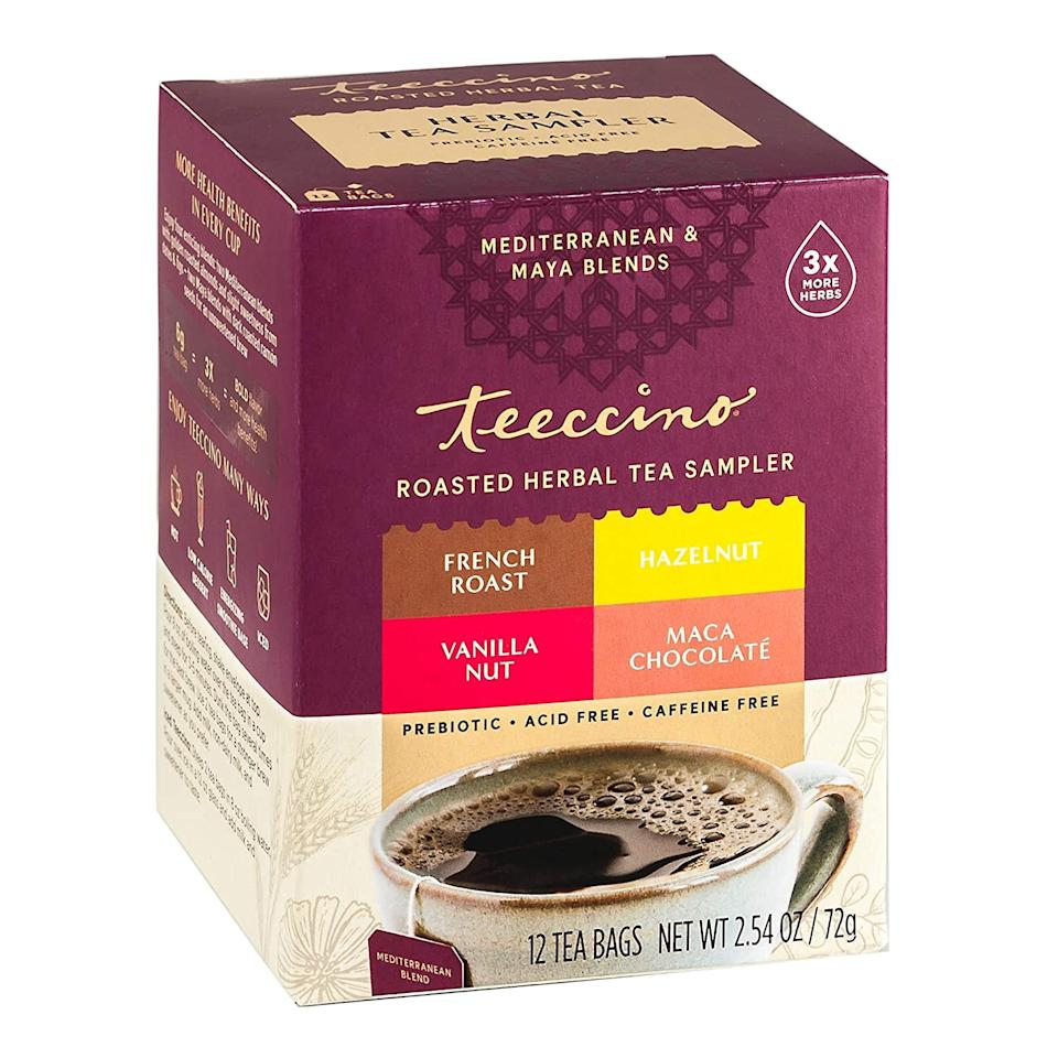 "<p>I was happy to find out that Teeccino makes other decadent flavors. If you're used to drinking coffee, you might like this <product href=""https://www.amazon.com/Teeccino-Hazelnut-Chocolat%C3%A9-Substitute-Prebiotic/dp/B07DWBJ6D8/ref=pd_bxgy_img_2/143-7412279-4402125?_encoding=UTF8&amp;pd_rd_i=B07DWBJ6D8&amp;pd_rd_r=39c1ff64-07e3-40ab-bd9f-d5d8be882533&amp;pd_rd_w=e8hvY&amp;pd_rd_wg=FGoyt&amp;pf_rd_p=ce6c479b-ef53-49a6-845b-bbbf35c28dd3&amp;pf_rd_r=X649CFHJ0E4K677H8FXB&amp;psc=1&amp;refRID=X649CFHJ0E4K677H8FXB"" target=""_blank"" class=""ga-track"" data-ga-category=""Related"" data-ga-label=""https://www.amazon.com/Teeccino-Hazelnut-Chocolat%C3%A9-Substitute-Prebiotic/dp/B07DWBJ6D8/ref=pd_bxgy_img_2/143-7412279-4402125?_encoding=UTF8&amp;pd_rd_i=B07DWBJ6D8&amp;pd_rd_r=39c1ff64-07e3-40ab-bd9f-d5d8be882533&amp;pd_rd_w=e8hvY&amp;pd_rd_wg=FGoyt&amp;pf_rd_p=ce6c479b-ef53-49a6-845b-bbbf35c28dd3&amp;pf_rd_r=X649CFHJ0E4K677H8FXB&amp;psc=1&amp;refRID=X649CFHJ0E4K677H8FXB"" data-ga-action=""In-Line Links"">Teeccino Herbal Tea Sampler</product> ($7) that includes Maca Chocolaté (just as delicious as the Dark Chocolate flavor!), French Roast, Hazelnut, Vanilla Nut (another one of my faves!). </p>"