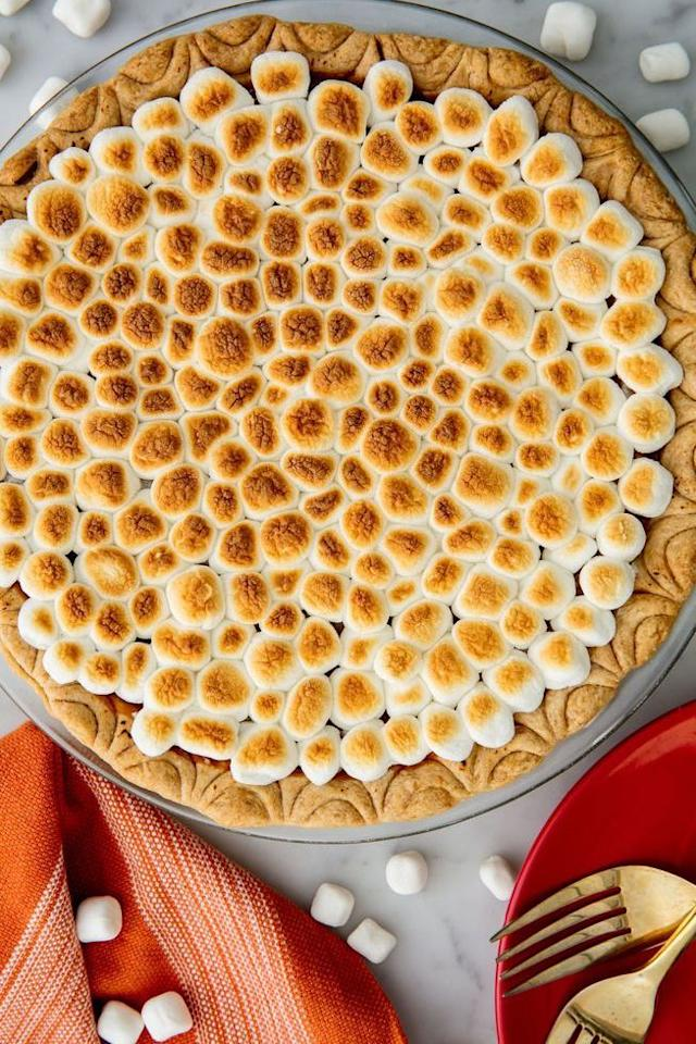 """<p>Topped with dozens of tiny marshmallows, this pie takes a cue from the <a href=""""https://www.countryliving.com/food-drinks/g877/sweet-potato-recipes-1009/"""">sweet potato</a> casseroles we all grew up with. We just hope you remember to make enough for seconds (and thirds).</p><p><strong>Get the recipe at <a href=""""https://www.delish.com/cooking/recipe-ideas/recipes/a55690/best-sweet-potato-pie-recipe/"""" target=""""_blank"""">Delish</a>.</strong></p><p><strong><a class=""""body-btn-link"""" href=""""https://www.amazon.com/Puffed-Mini-Marshmallow-16-Ounce-Bags/dp/B002UKTOFK?tag=syn-yahoo-20&ascsubtag=%5Bartid%7C10050.g.3792%5Bsrc%7Cyahoo-us"""" target=""""_blank"""">SHOP MINI MARSHMALLOWS</a><br></strong></p>"""