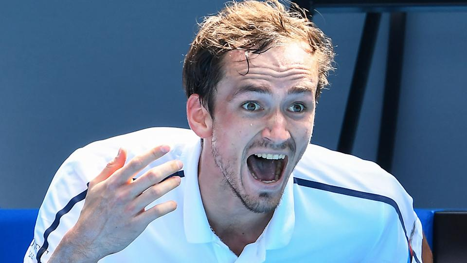 Seen here, Daniil Medvedev lets out his frustrations at the Australian Open.