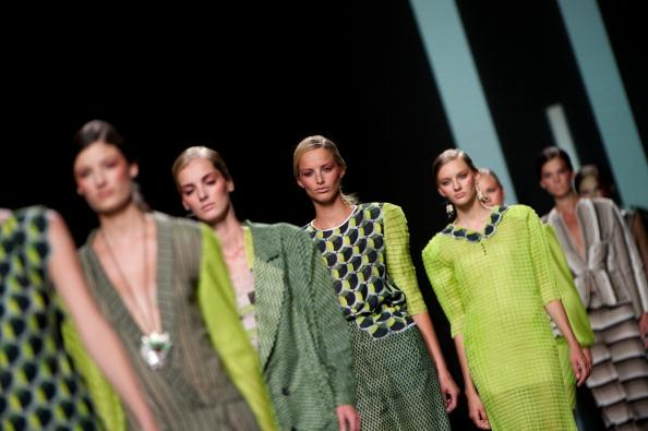 Models walk the runway in the Martin Lamothe fashion show during the Mercedes-Benz Fashion Week Madrid Spring/Summer 2013 at Ifema on September 2, 2012 in Madrid, Spain. (Photo by Carlos Alvarez/Getty Images)