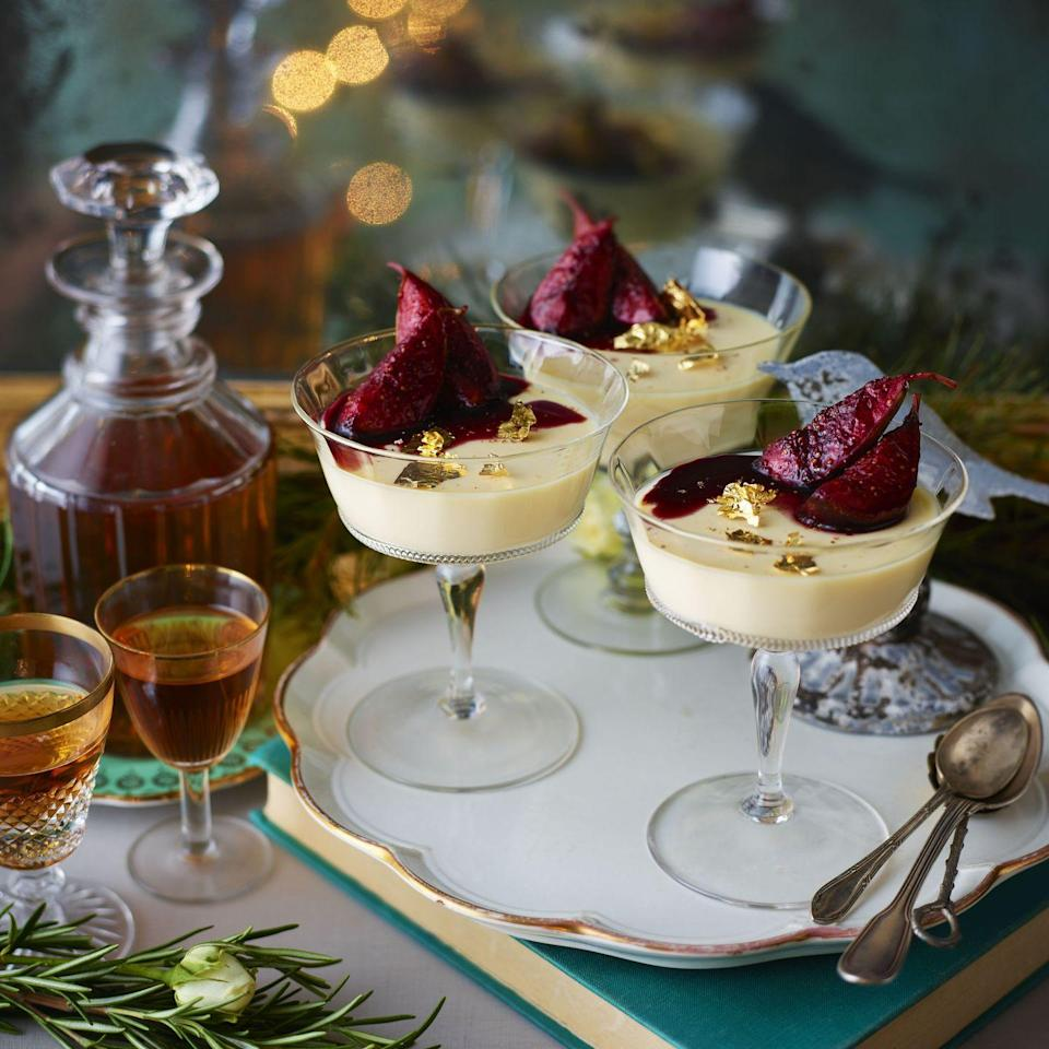 """<p>Eggnog Panna Cotta with Boozy Mulled Figs: Boozy, rich and delicious, this elegant dessert is a great alternative if you're not fans of Christmas pudding but still want something festive.</p><p><strong>Recipe: <a href=""""https://www.goodhousekeeping.com/uk/food/recipes/a25343382/eggnog-panna-cotta/"""" rel=""""nofollow noopener"""" target=""""_blank"""" data-ylk=""""slk:Eggnog Panna Cotta with Boozy Mulled Figs"""" class=""""link rapid-noclick-resp"""">Eggnog Panna Cotta with Boozy Mulled Figs</a></strong></p>"""