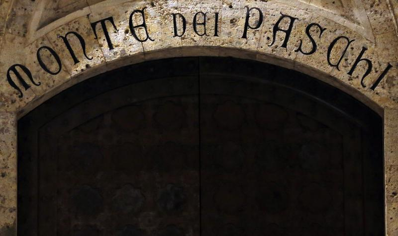 The entrance of Monte Dei Paschi bank headquarters is pictured in Siena