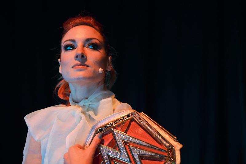 LISBON , PORTUGAL - 7 November 2019; Becky Lynch, WWE Superstar, WWE, backstage @ Centre Stage during the final day of Web Summit 2019 at the Altice Arena in Lisbon, Portugal. (Photo By Harry Murphy/Sportsfile for Web Summit via Getty Images)