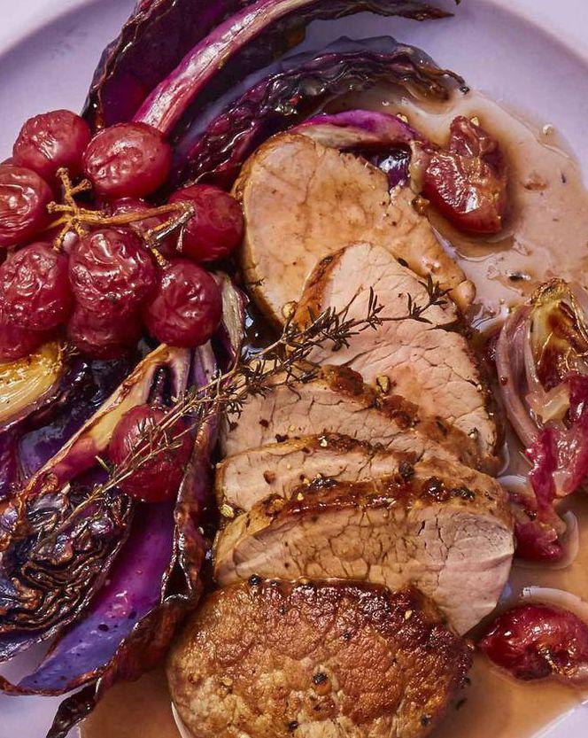 "<p>This delicious roast pork dish, made with sweet red grapes and cabbage, only takes 20 minutes to make. Just remember to let your pork rest for five minutes on the cutting board before slicing into it to ensure it stays juicy.</p><p><strong><a rel=""nofollow"" href=""https://www.womansday.com/food-recipes/food-drinks/a25782039/pork-tenderloin-with-roasted-red-grapes-and-cabbage-recipe/"">Get the recipe. </a></strong></p>"