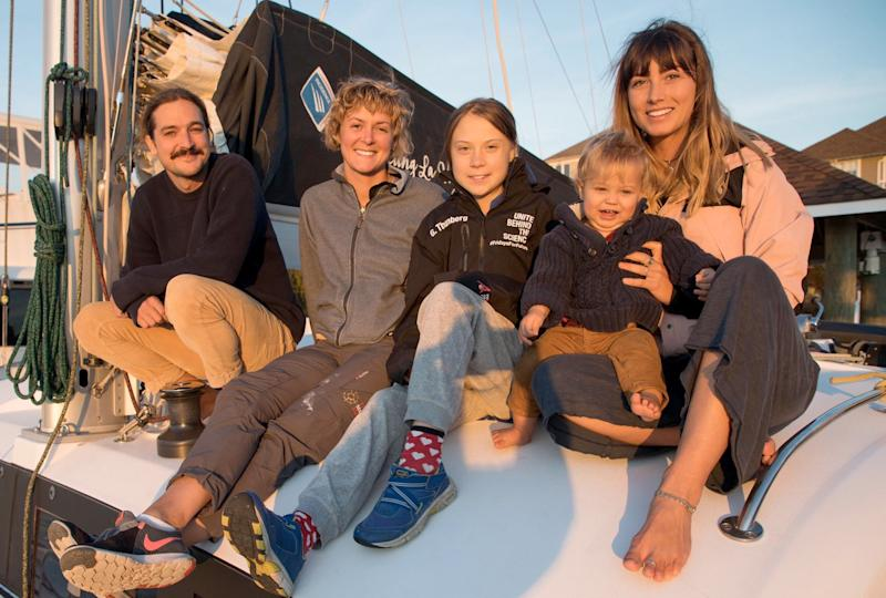 Greta and her companions the Aussie family on their voyage across the Atlantic (@GRETATHUNBERG / via REUTERS)