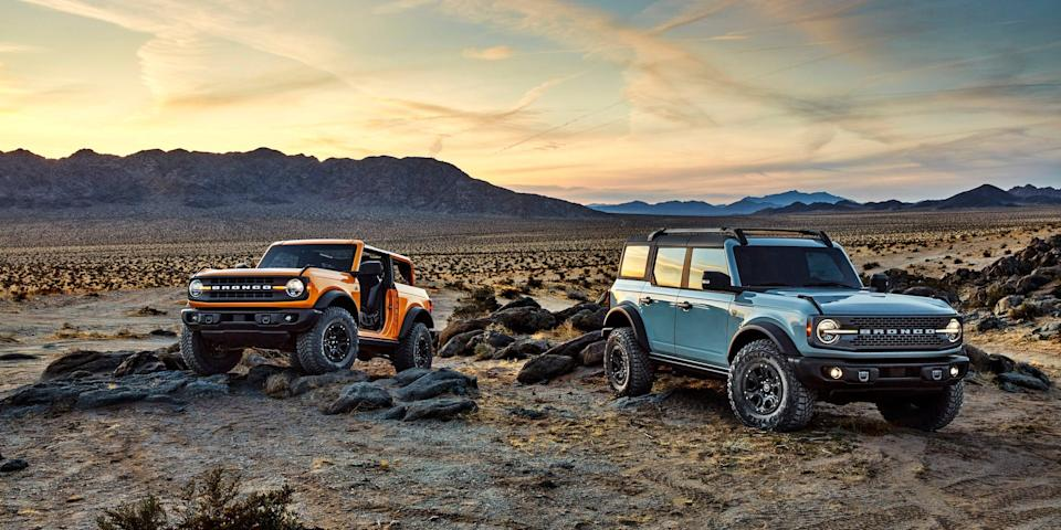 2021 Ford Bronco two-door and four-door.