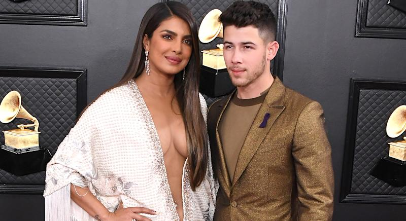 Priyanka Chopra and Nick Jonas at the Grammy Awards 2020. [Photo: Getty]