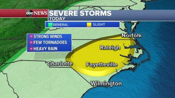 PHOTO: The biggest threat for damaging winds will be from southern Virginia to North Carolina (ABC News)
