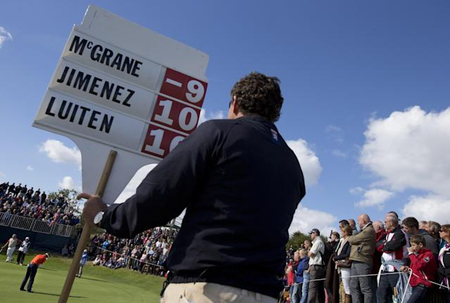 Netherlands' Joost Luiten, bottom left corner, putts on hole three during the final round of the KLM Open men's golf tournament in the beach resort of Zandvoort, western Netherlands, Sunday, Sept. 15, 2013. (AP Photo/Peter Dejong)