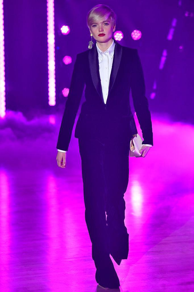<p>Model wears a black tux pantsuit at the fall 2018 Brandon Maxwell show. (Photo: Getty Images) </p>