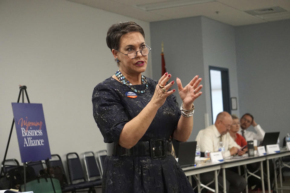 FILE - In this May 16, 2018, file photo, Harriet Hageman addresses a meeting of the Wyoming Business Alliance in Casper, Wyo. Former President Donald Trump has chosen Hageman, a favored candidate in his bid to unseat Rep. Liz Cheney, one of his most vocal critics. That's according to a person familiar with his decision who spoke on condition of anonymity ahead of a formal announcement (AP Photo/Mead Gruver, File)