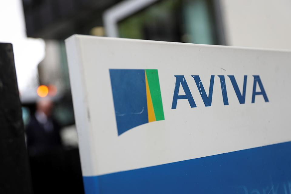 The Aviva logo sits outside the company head office in the city of London, Britain March 7, 2019. REUTERS/Simon Dawson