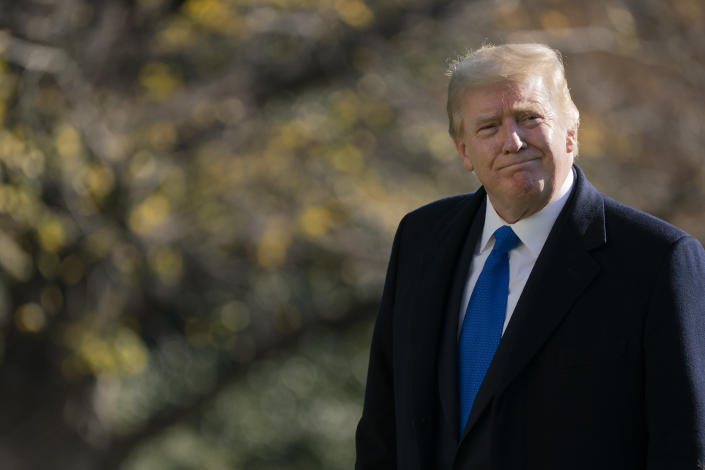In this Nov. 29, 2020, photo, President Donald Trump walks on the South Lawn of the White House in Washington, after stepping off Marine One. Trump has delivered a 46-minute diatribe against the election results that produced a win for Democrat Joe Biden, unspooling one misstatement after another to back his baseless claim that he really won. (AP Photo/Patrick Semansky)