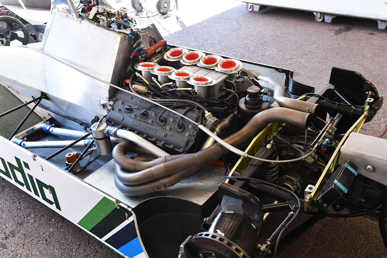 <span>A proper engine: This one's a Ford Cosworth DFY, in the back of a classic WIlliams FW08</span>