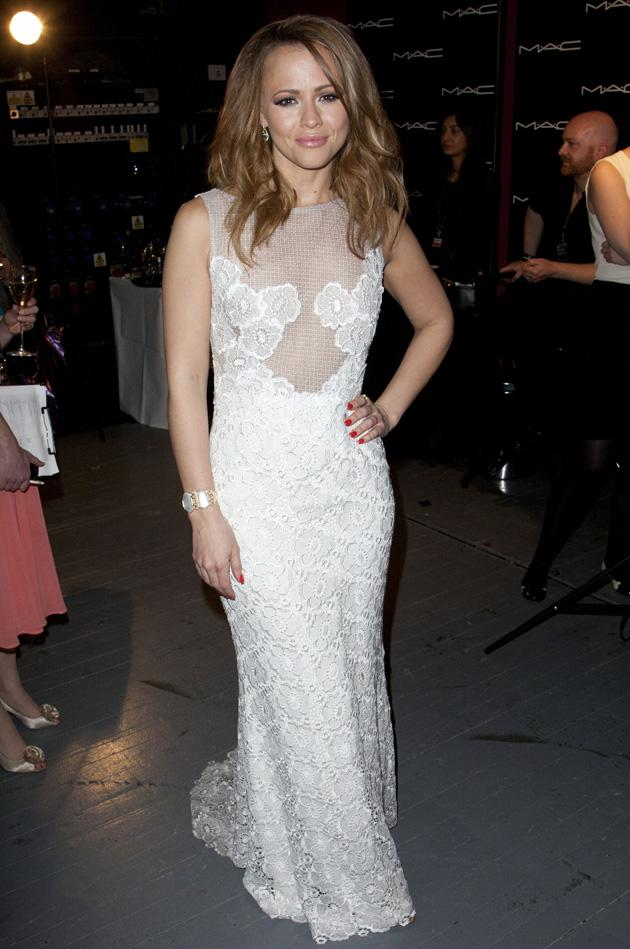 Kimberley Walsh wore a lovely lace number to the ceremony / Rex