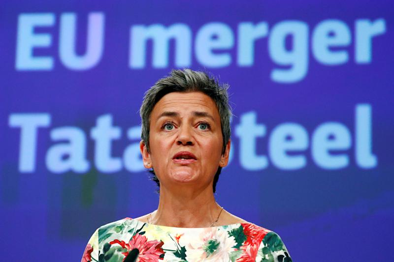 European Competition Commissioner Margrethe Vestager addresses a news conference in Brussels, Belgium June 11, 2019. REUTERS/Francois Lenoir
