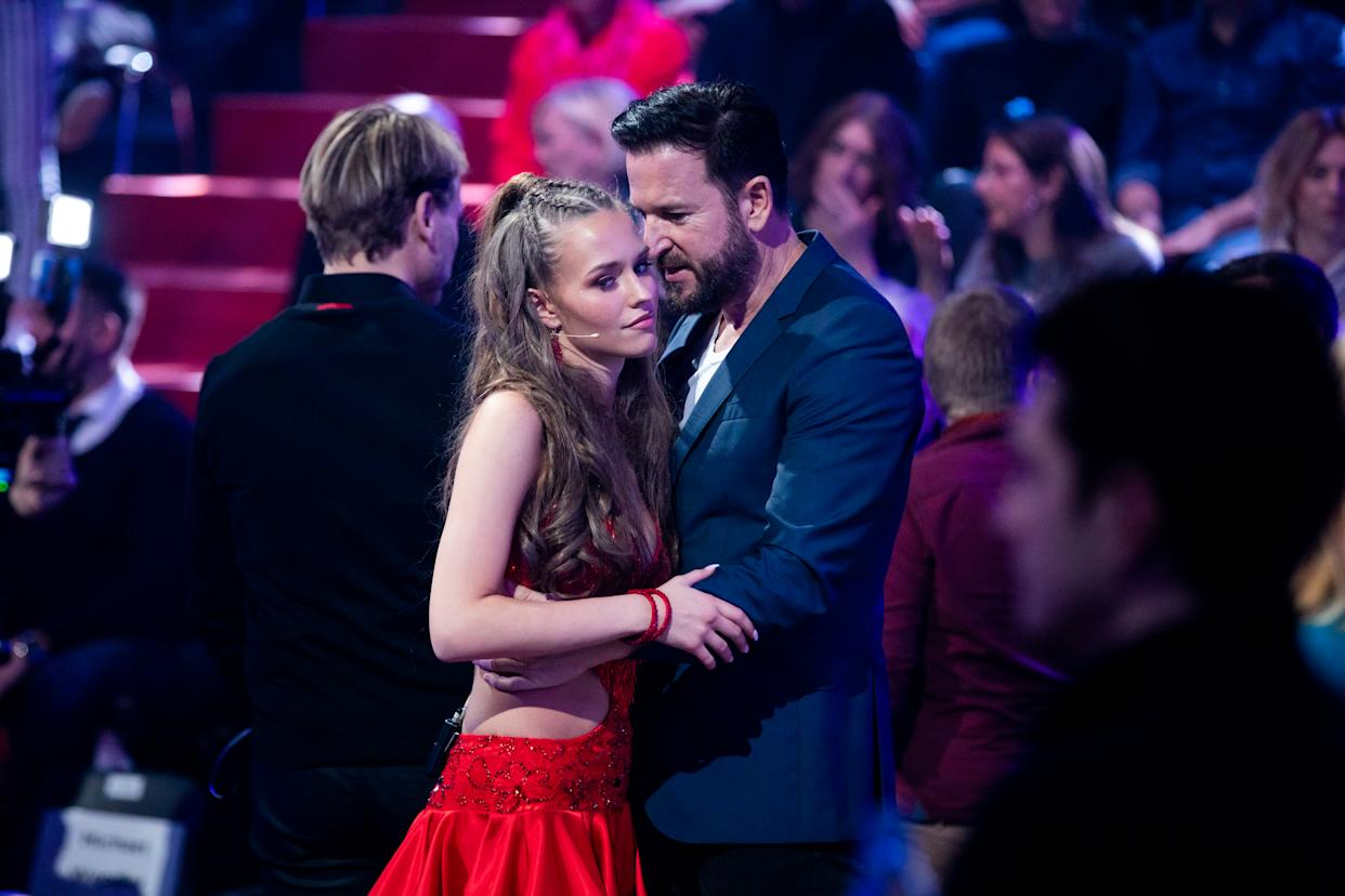 COLOGNE, GERMANY - FEBRUARY 21:  Michael Wendler and Laura Mueller are seen on stage during the pre-show