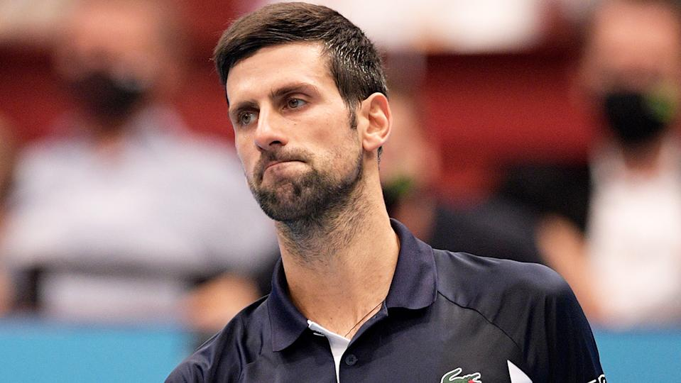 Novak Djokovic is pictured after his loss to Lorenzo Sonego at the Vienna Open.