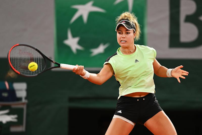 PARIS, FRANCE - SEPTEMBER 30: Renata Zarazua of Mexico plays a forehand during her Women's Singles second round match against Elina Svitolina of Ukraine on day four of the 2020 French Open at Roland Garros on September 30, 2020 in Paris, France. (Photo by Shaun Botterill/Getty Images)