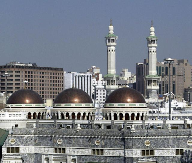 <b>MECCA, SAUDI ARABIA:</b> A view of the minarets and domes of The Grand Mosque.