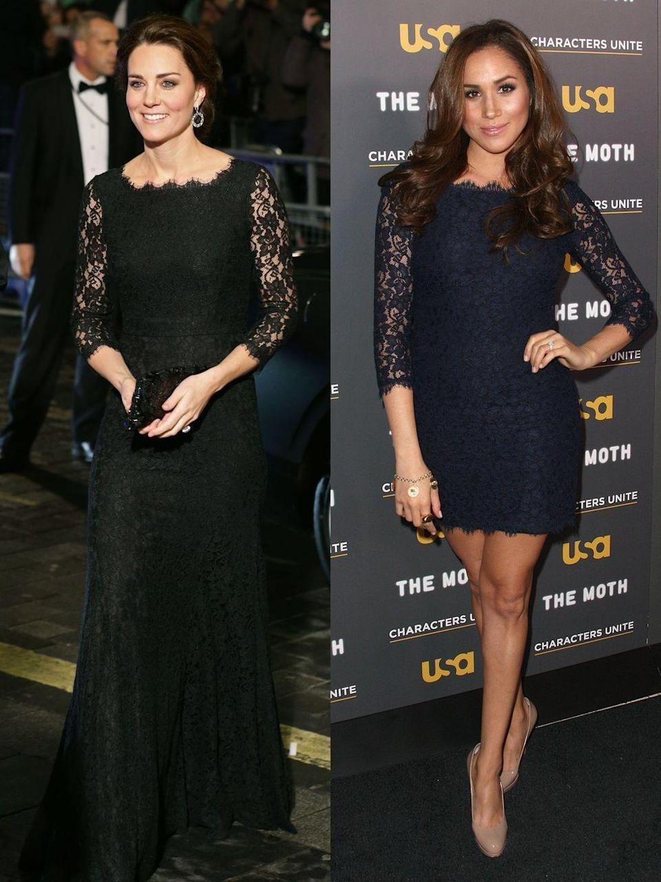 """<p><strong>Left: </strong>Catherine, Duchess of Cambridge arrived for the 2014 <a href=""""https://www.townandcountrymag.com/leisure/arts-and-culture/a10284914/beatles-royal-variety-performance/"""" rel=""""nofollow noopener"""" target=""""_blank"""" data-ylk=""""slk:Royal Variety Performance"""" class=""""link rapid-noclick-resp"""">Royal Variety Performance</a> wearing Diane von Furstenberg's Zarita dress. In November of 2017, she rewore the dress to a charity gala at Kensington Palace.</p><p><a href=""""https://www.townandcountrymag.com/society/tradition/g12167293/kate-middleton-best-maternity-outfits/"""" rel=""""nofollow noopener"""" target=""""_blank"""" data-ylk=""""slk:See that look, here."""" class=""""link rapid-noclick-resp"""">See that look, here.</a></p><p><strong>Right: </strong>Before she was royal, the Duchess of Sussex attended an event for USA Network in 2012, wearing a shorter, navy blue version of the Zarita, two years before Duchess Kate stepped out in the style. <br></p>"""