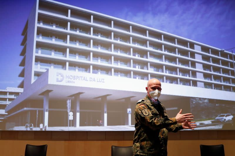 German doctors hold a news conference at Hospital da Luz in Lisbon