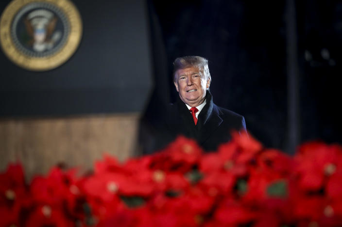 President Trump at the National Christmas Tree lighting ceremony in Washington on Wednesday. (Photo: Pool-Oliver Contreras/Getty Images)