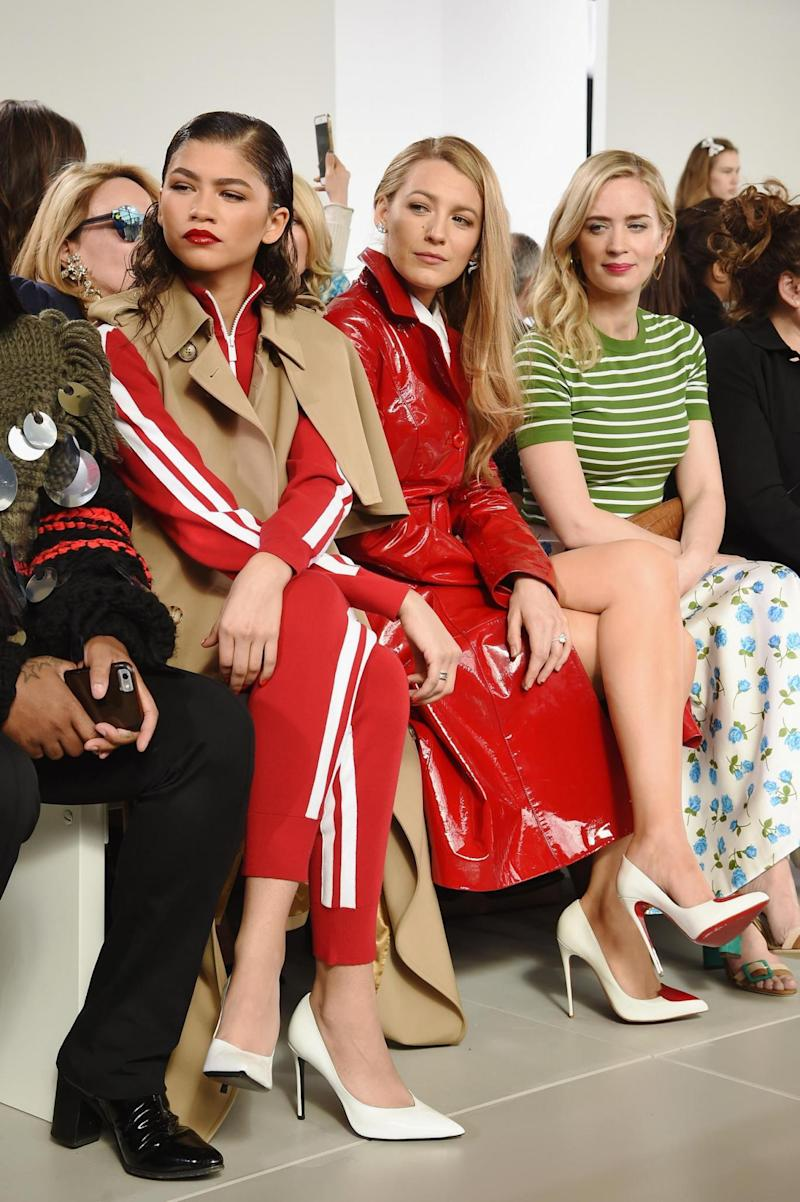 Zendaya, Blake Lively, and Emily Blunt attend the Michael Kors AW18 show (Getty Images for Michael Kors)