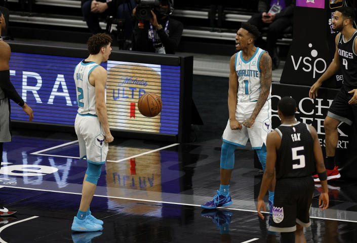 Malik Monk celebrates a game-winning 3-point play to lift the Hornets to a great comeback win over the Kings.  (Photo by Ezra Shaw/Getty Images)