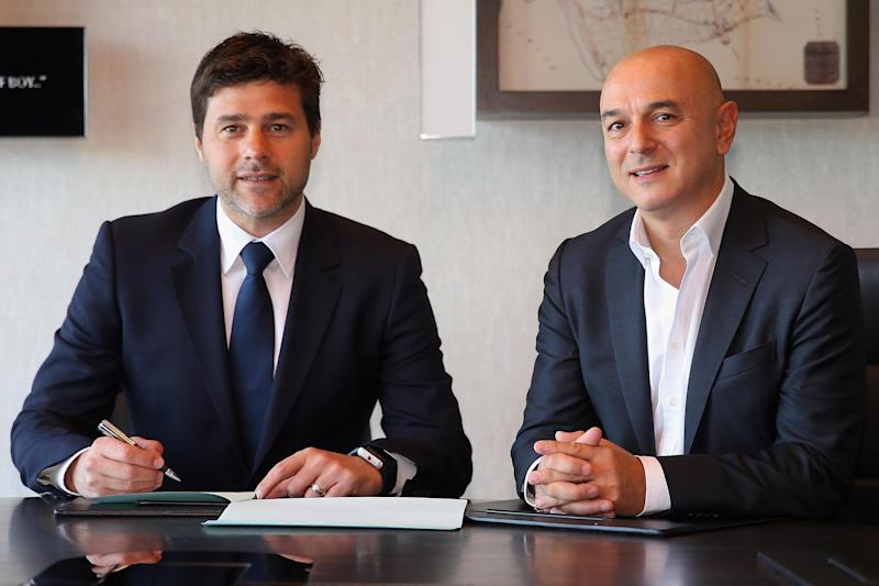 Tottenham manager Mauricio Pochettino with chairman Daniel Levy: Tottenham Hotspur FC via Getty Images